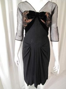 1950's Black crepe vintage cocktail dress **SOLD**